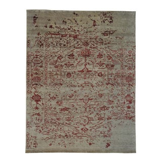 Handmade Broken Heriz Wool/ Silk Oriental Rug (9' x 11'9)