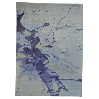Hand-loomed Rayon from Bamboo Silk Oriental Splash Rug (9' x 12'5)