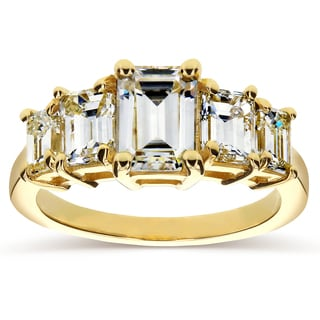 Annello by Kobelli 14k Yellow Gold Emerald-cut Moissanite and 1 1/3ct TDW Diamond Five Stone Engagem