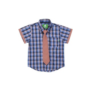 Future Trillionaire Boys Plaid Shirt with Chambray Neck Tie in Blue