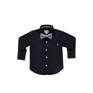 Future Trillionaire Boys Black Solid Button Up Shirt with Chambray Bow Tie