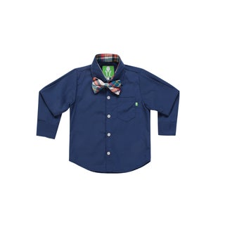 Future Trillionaire Boys Solid Shirt with Plaid Bow Tie in Blue