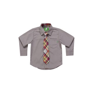 Future Trillionaire Boys Solid Grey Shirt with Plaid Neck Tie