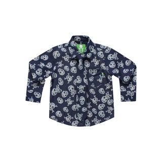 Future Trillionaire Boys' Black Skull Print Shirt with Matching Neck Tie