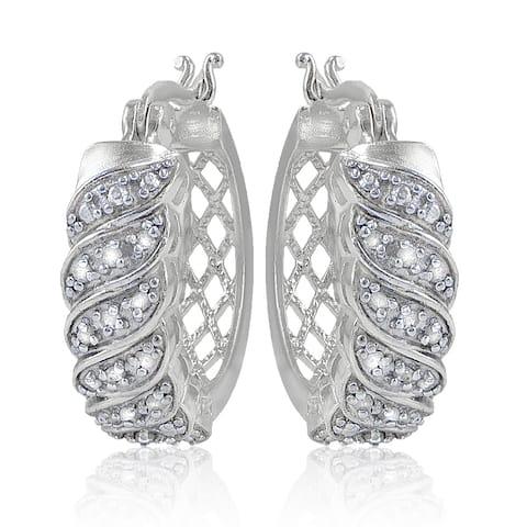 DB Designs 1/4ct TDW Diamond Wave Design Hoop Earrings