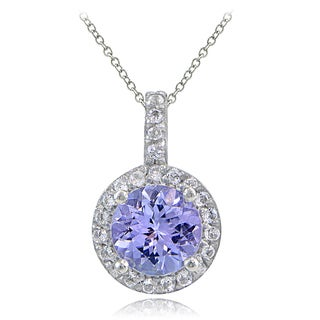 Glitzy Rocks Sterling Silver Tanzanite and White Topaz Round Necklace