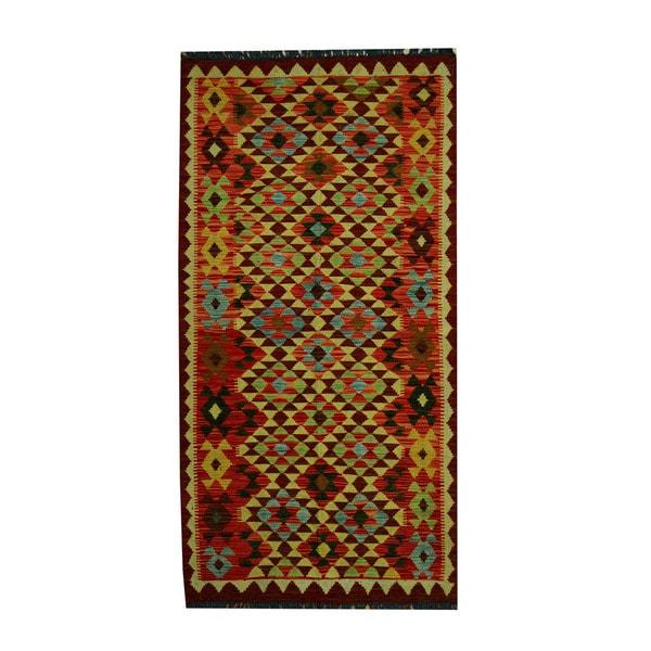 Herat Oriental Afghan Hand-woven Tribal Vegetable Dye Wool Kilim (3'3 x 6'4)