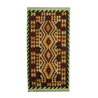 Herat Oriental Afghan Hand-woven Tribal Vegetable Dye Kilim Rust/ Green Wool Rug (3'6 x 6'6)