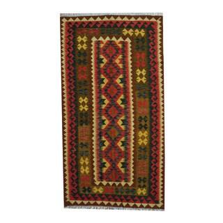 Herat Oriental Afghan Hand-woven Tribal Vegetable Dye Wool Kilim (3'6 x 6'6)