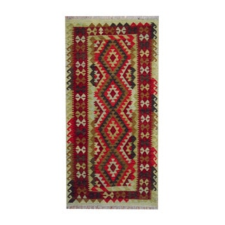 Herat Oriental Afghan Hand-woven Tribal Vegetable Dye Kilim Olive/ Red Wool Rug (3'5 x 6'8)