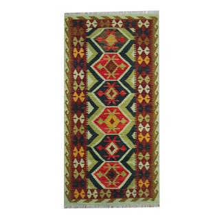 Herat Oriental Afghan Hand-woven Tribal Vegetable Dye Kilim Light Green/ Rust Wool Rug (3'5 x 6'9)