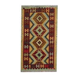Herat Oriental Afghan Hand-woven Tribal Vegetable Dye Kilim Light Blue/ Rust Wool Rug (3'7 x 6'3)