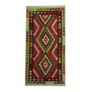 Herat Oriental Afghan Hand-woven Tribal Vegetable Dye Kilim Rust/ Burgundy Wool Rug (3'6 x 6'8)