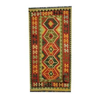 Herat Oriental Afghan Hand-woven Tribal Vegetable Dye Wool Kilim (3'5 x 6'6)