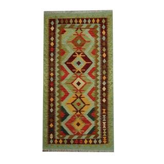 Herat Oriental Afghan Hand-woven Vegetable Dye Tribal Wool Kilim (3'5 x 6'7)