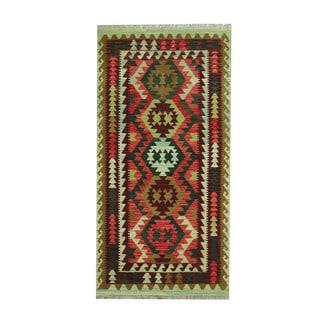 Herat Oriental Afghan Hand-woven Tribal Vegetable Dye Wool Kilim (3'4 x 6'8)