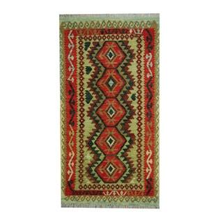 Herat Oriental Afghan Hand-woven Tribal Vegetable Dye Wool Kilim (3'6 x 6'7)