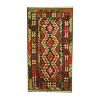 Herat Oriental Afghan Hand-woven Tribal Vegetable Dye Wool Kilim (3'7 x 6'5)