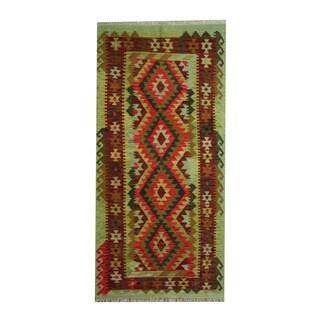 Herat Oriental Afghan Hand-woven Tribal Vegetable Dye Kilim Light Green/ Dark Rust Wool Rug (3'4 x 6