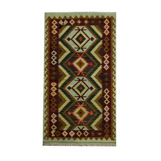 Herat Oriental Afghan Hand-woven Tribal Vegetable Dye Kilim Navy/ Burgundy Wool Rug (3'8 x 6'6)