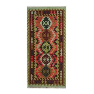 Herat Oriental Afghan Hand-woven Tribal Vegetable Dye Wool Kilim (3'3 x 6'7)