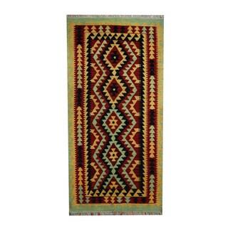 Herat Oriental Afghan Hand-woven Tribal Vegetable Dye Wool Kilim (3'3 x 6'1)