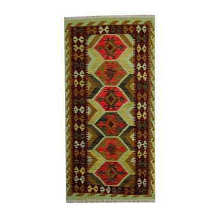 Herat Oriental Afghan Hand-woven Rust/ Green Tribal Vegetable Dye Wool Kilim (3'4 x 6)