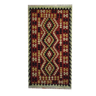 Herat Oriental Afghan Hand-woven Tribal Vegetable Dye Kilim Rust/ Navy Wool Rug (3'6 x 6'5)
