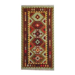 Herat Oriental Afghan Hand-woven Red/ Gold Tribal Vegetable Dye Wool Kilim (3'6 x 6'7)
