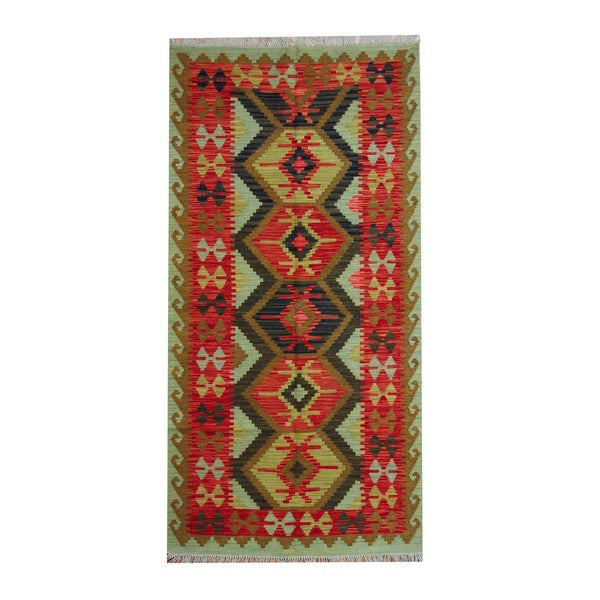 Herat Oriental Afghan Hand-woven Vegetable Dye Tribal Wool Kilim (3'4 x 6'7)