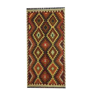 Herat Oriental Afghan Hand-woven Gold/ Rust Tribal Vegetable Dye Wool Kilim (3'4 x 6'7)