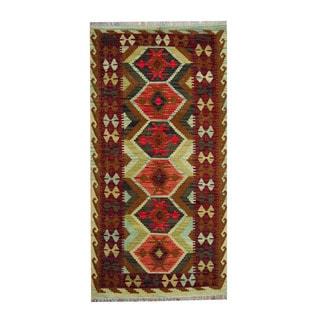 Herat Oriental Afghan Hand-woven Red/ Rust Tribal Vegetable Dye Wool Kilim (3'4 x 6'6)