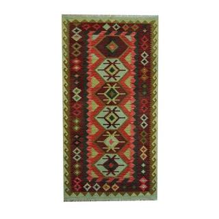 Herat Oriental Afghan Hand-woven Green/ Rust Tribal Vegetable Dye Wool Kilim (3'6 x 6'7)