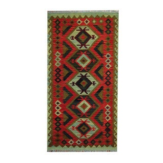 Herat Oriental Afghan Hand-woven Tribal Vegetable Dye Kilim Red/ Olive Wool Rug (3'5 x 6'7)