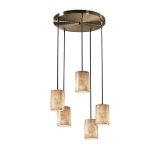 Justice Design Alabaster Rocks 5-Light Cluster Pendant