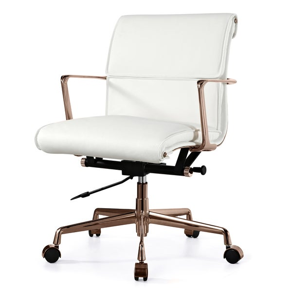 twopad office chair in rose gold and white italian leather