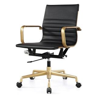 M348 Vegan Leather Office Chair Gold/Black