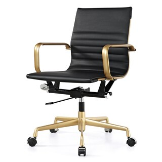 M348 Black Vegan Leather and Gold Contemporary Office Chair