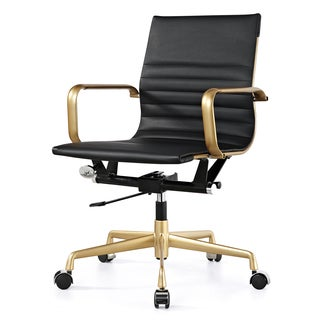 M348 Black Vegan Leather and Gold Office Chair