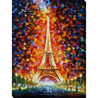 Leonid Afremov 'Paris -Eifel Tower Lighted' Giclee Print Canvas Wall Art