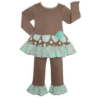 Ann Loren Girls' Chocolate/ Blue Floral Lattice Cotton 2-piece Tunic Pants Outfit