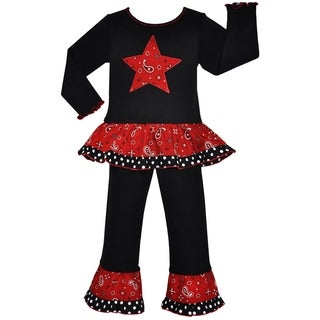 Ann Loren Boutique Girls' Red Bandana Country Western Star Outfit