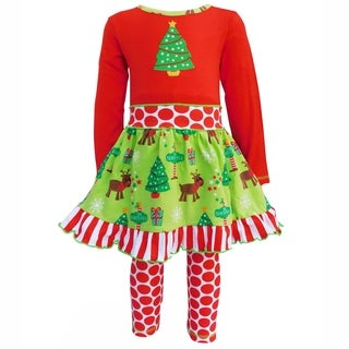 Ann Loren Girls Christmas Tree Floral Dress and Pants Outfit Set
