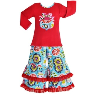 Ann Loren Girls' Christmas Ornament Shirt/ Pants Outfit