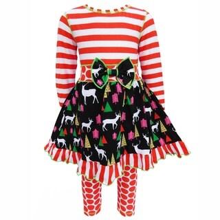AnnLoren Girls Christmas Holiday Reindeer and Red Stripe Dress Set