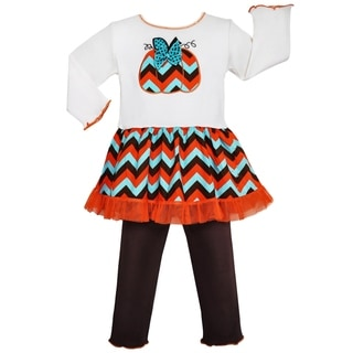Ann Loren Girls' Autumn Chevron Pumpkin Dress Legging Outfit