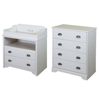South Shore Fundy Tide Changing Table and 4-drawer Chest (Option: White Finish - White)
