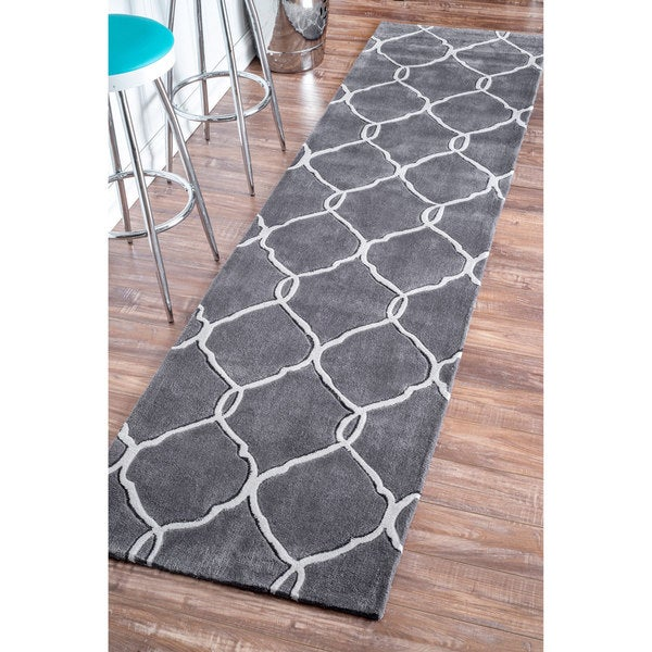nuloom handmade pino moroccan grey trellis runner rug 2u0026x27