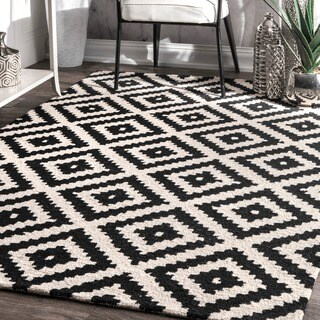 nuLOOM Handmade Abstract Wool Fancy Pixel Trellis Area Rug (7'6 x 9'6) - 7' 6 x 9' 6