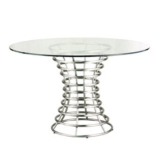 Ibiza Brushed Stainless Steel Dining Table with Clear Glass - White